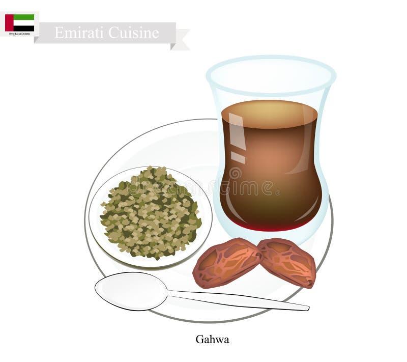 Кофе Gahwa, популярное Dink в Объединенных эмиратах иллюстрация штока