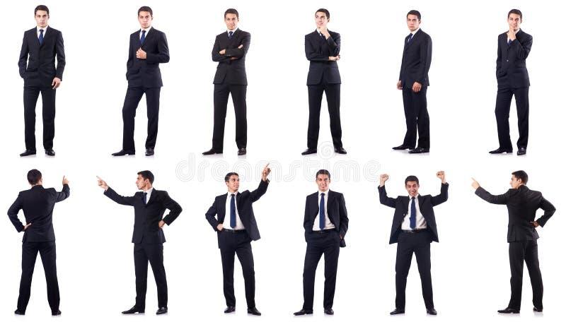 Коллаж бизнесмена изолированный на белизне стоковое фото