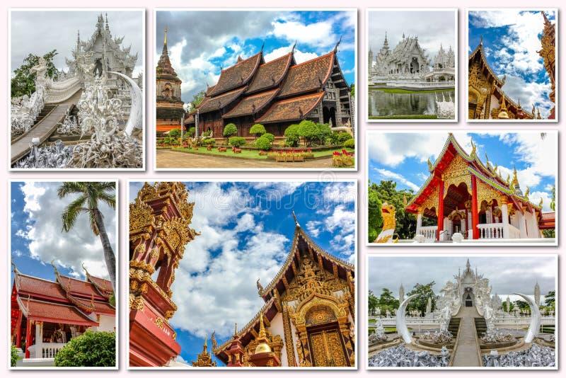 Коллаж буддийских висков стоковые фотографии rf