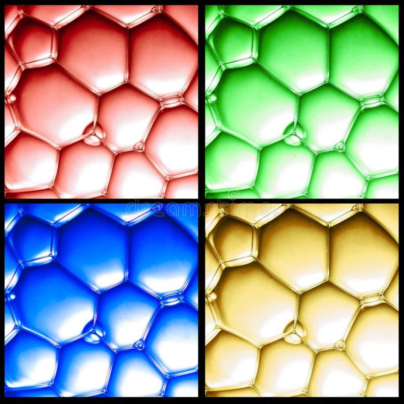 Коллаж взгляда крупного плана на пузырях цвета стоковые изображения rf
