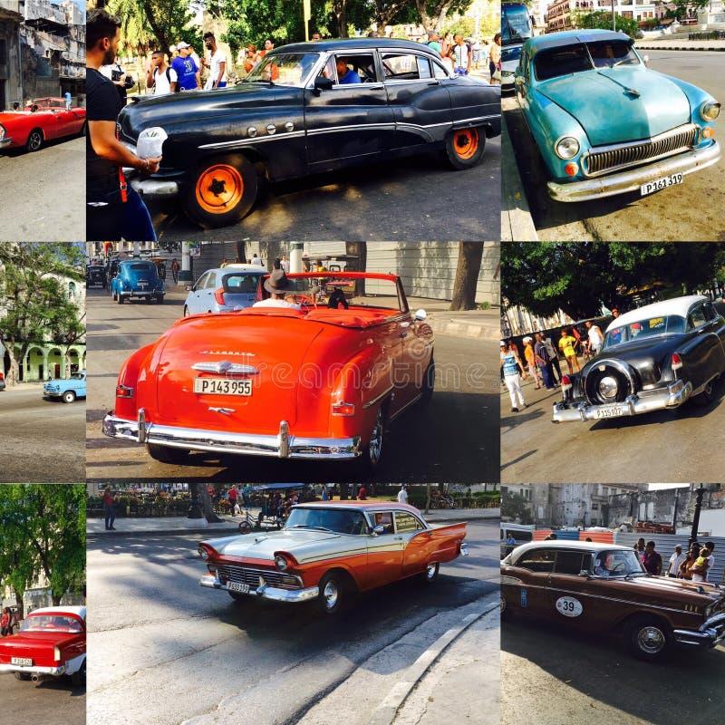 Коллаж винтажных автомобилей стоковые фотографии rf