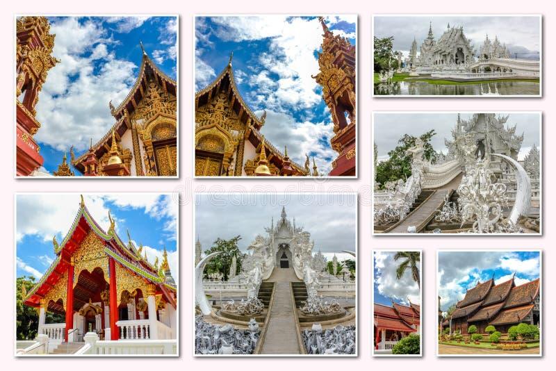 Коллаж висков Чиангмая стоковая фотография rf