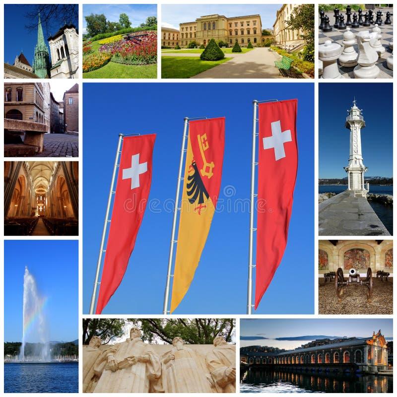 Коллаж города Женевы, Швейцария стоковые изображения