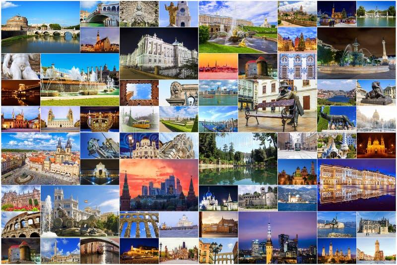 Коллаж главных привлекательностей Европы стоковая фотография