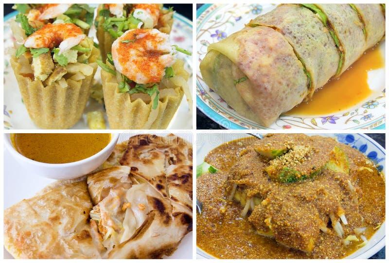Коллаж еды Сингапура юговосточного азиата местный стоковые фотографии rf