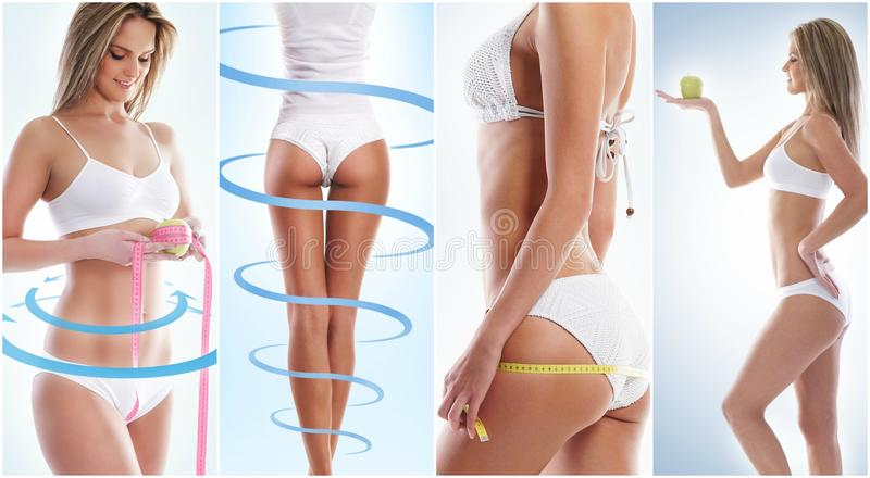 Коллаж женского тела с стрелками стоковое фото