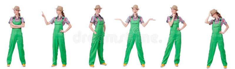 Коллаж женщины нося зеленые coveralls изолированные на белизне стоковые изображения