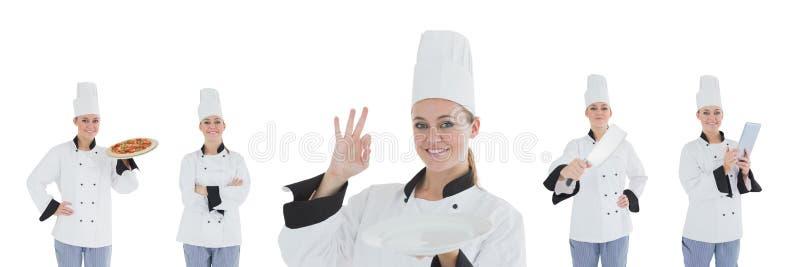 Коллаж женщины шеф-повара стоковая фотография