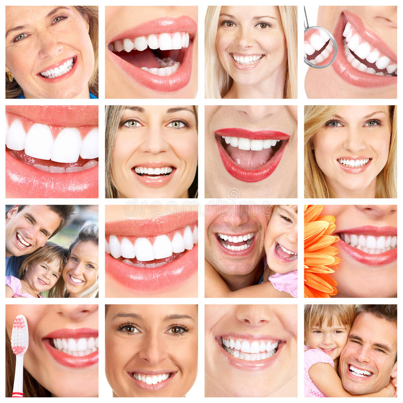 Коллаж зубов людей. стоковое изображение rf