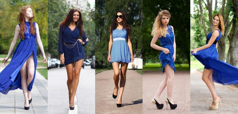 Коллаж 5 красивых моделей в голубом платье стоковое изображение