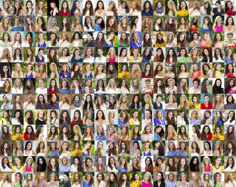 Коллаж красивых молодых женщин между дой 18 и 30 стоковые изображения