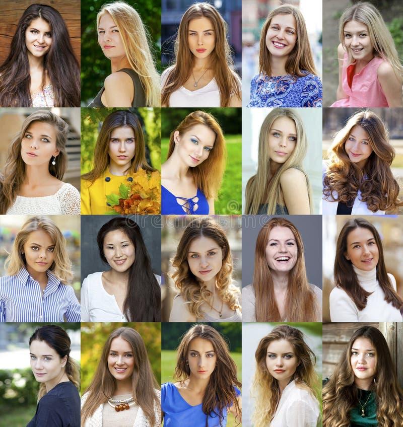 Коллаж красивых молодых женщин между дой 18 и 30 стоковое фото