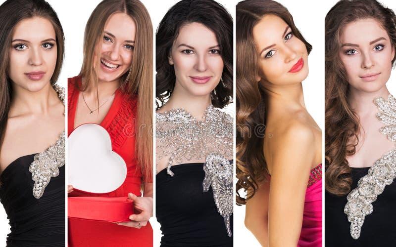 Коллаж красивых молодых женщин стоковое изображение rf