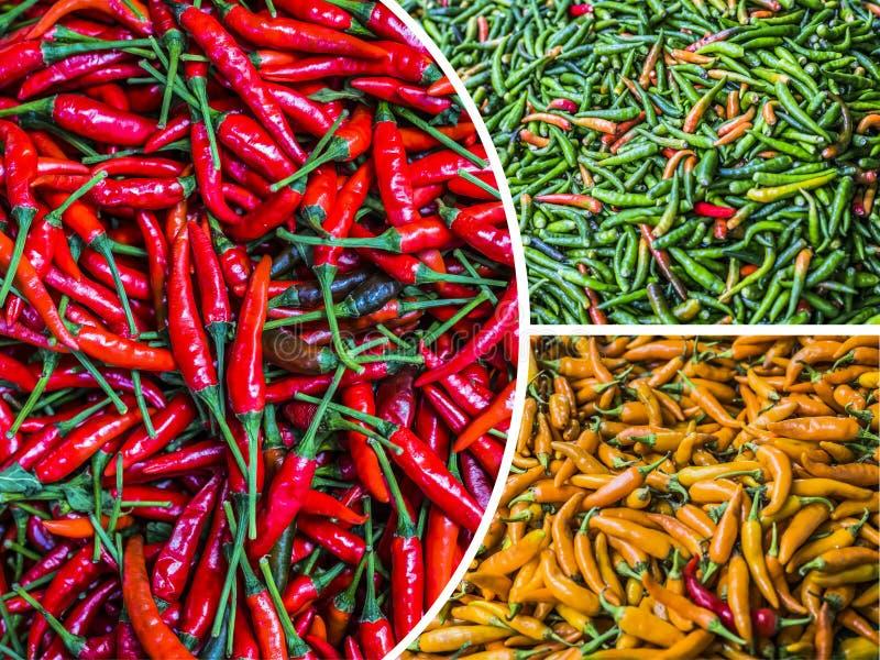 Коллаж красного зеленого и желтого paprica стоковое изображение