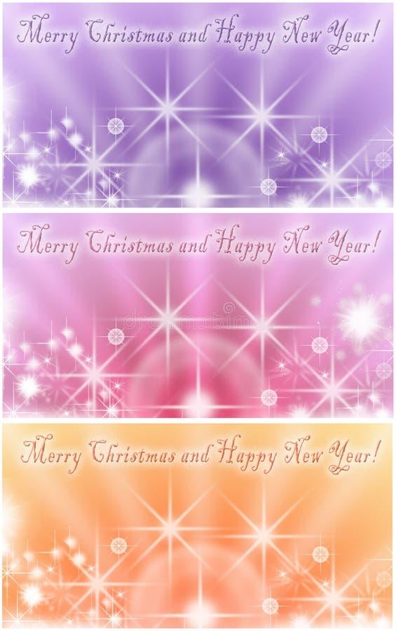 Коллаж 3 красочных поздравительных открыток зимнего отдыха с сияющими звездами иллюстрация штока