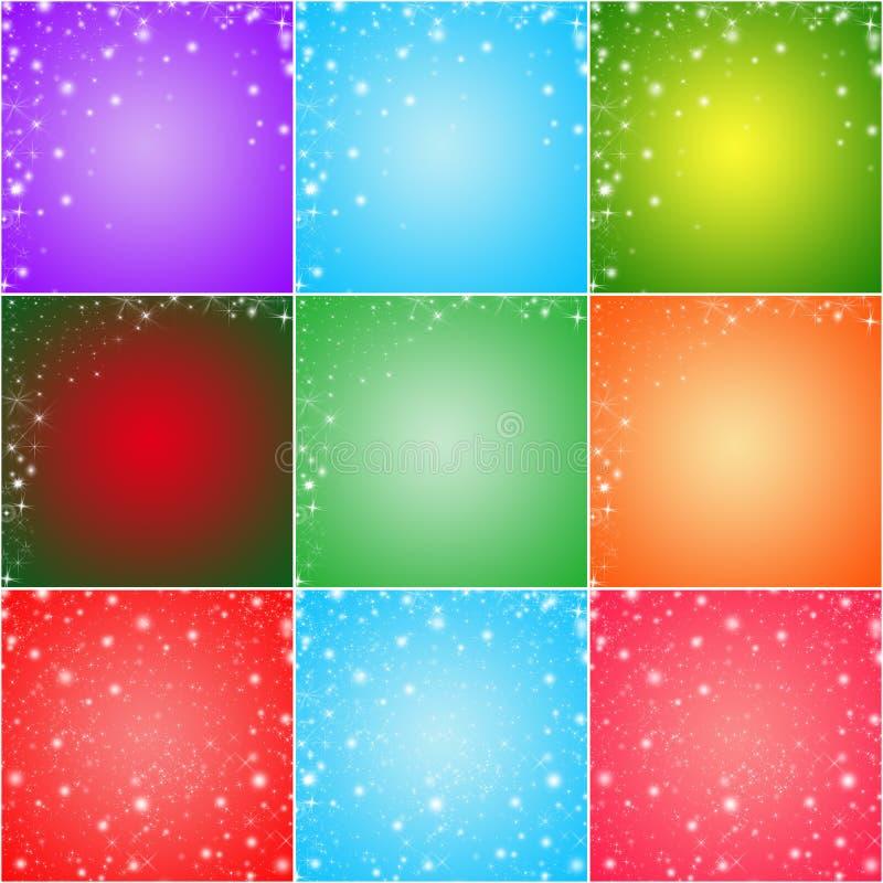 Коллаж 9 красочных предпосылок поздравительной открытки зимних отдыхов бесплатная иллюстрация