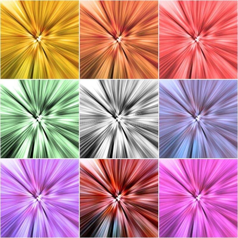 Коллаж 9 красочных предпосылок с радиальной нерезкостью бесплатная иллюстрация