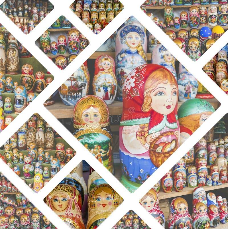 Коллаж кукол вложенности отображает - путешествуйте предпосылка & x28; мое photos& x29; стоковое фото