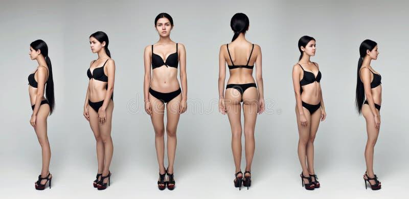 коллаж Модельные испытания Профессиональный модельный представлять в студии стоковое фото