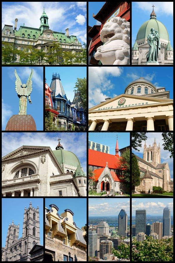 Коллаж наземных ориентиров Монреаля, Канада стоковые фото