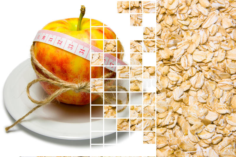 Коллаж окружать яблока измеряя ленты связал с шпагатом a стоковая фотография rf