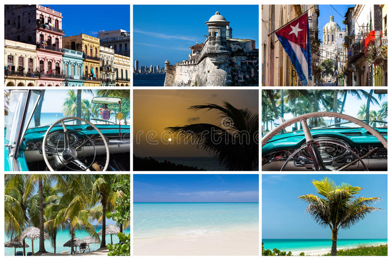 Коллаж от Гаваны Кубы с пляжем архитектуры и классическими автомобилями стоковые изображения rf