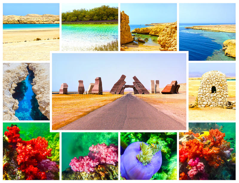 Коллаж от изображений национального парка Ras Мухаммеда, Египта стоковое фото