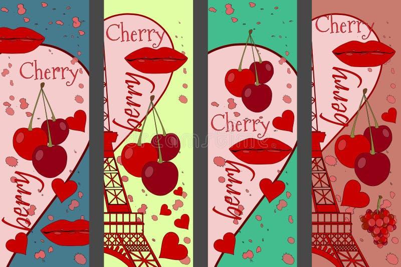 Коллаж от Эйфелева башни, вишни и поцелуя Установленные романтичные коллажи paris Франция Современное искусство иллюстрация штока