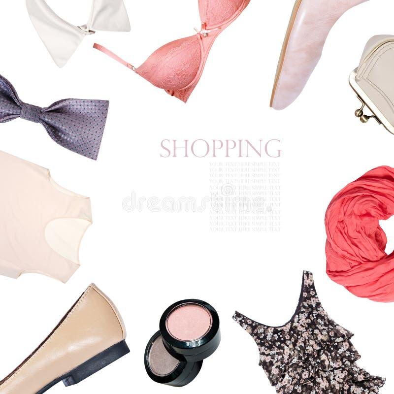 Коллаж одежды женщин изолированный на белой предпосылке стоковое фото