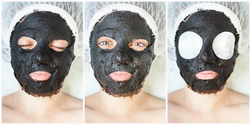 Коллаж подмолаживания и skincare в салоне курорта стоковое изображение