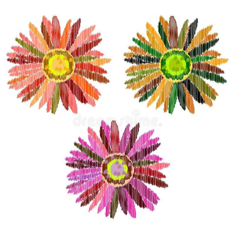 Коллаж при красочные изолированные цветки иллюстрация вектора