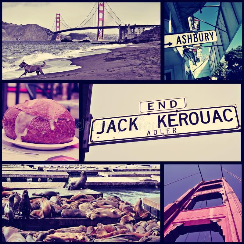 Коллаж различных ориентир ориентиров в Сан-Франциско, стоковая фотография rf