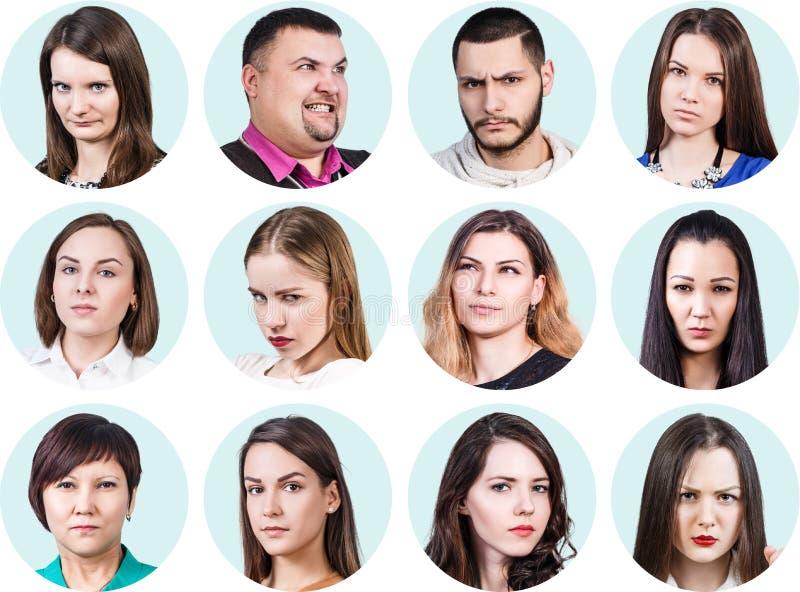 Коллаж различных людей с эмоциями гнева стоковое изображение