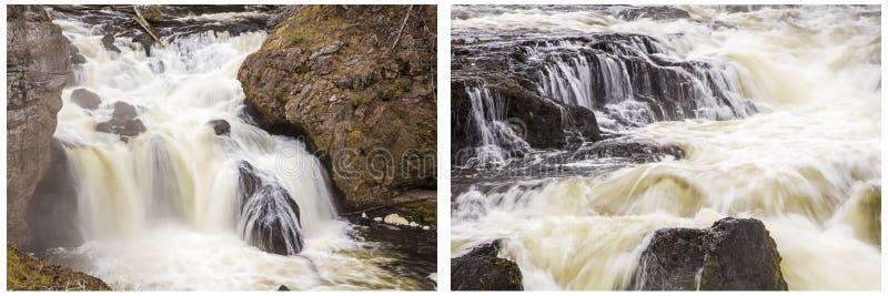 Коллаж речных порогов whitewater водопада стоковое фото