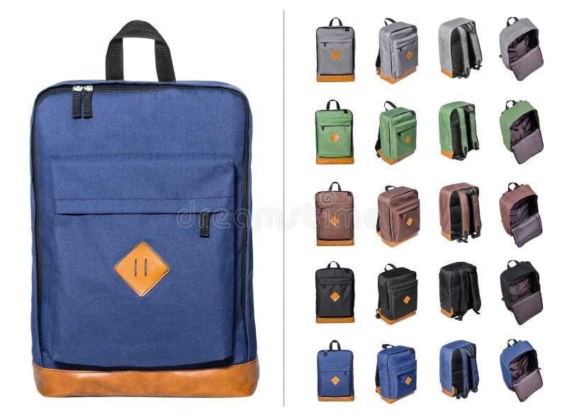 Коллаж рюкзаков стоковое изображение