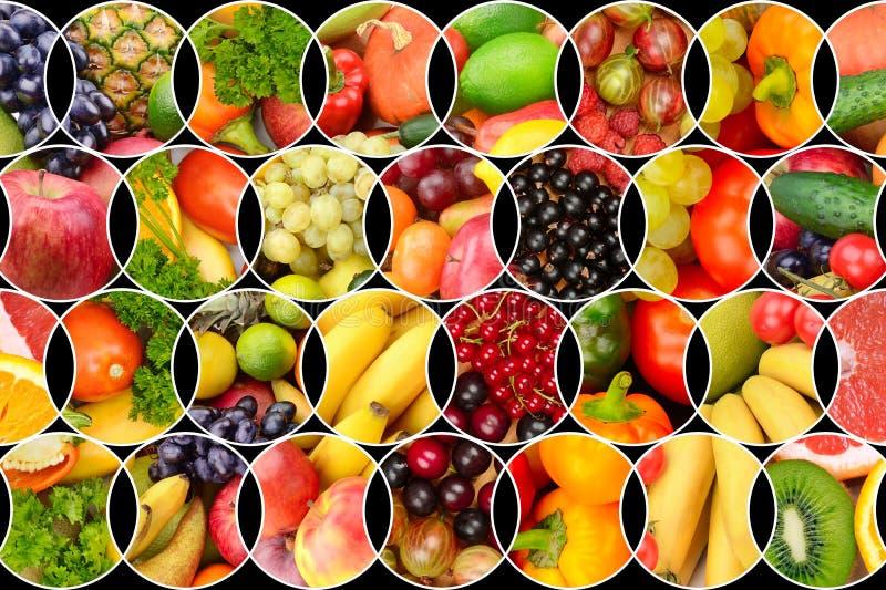 Коллаж свежих фруктов и овощей стоковые изображения rf