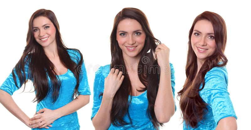 Коллаж, счастливый усмехаться молодой женщины стоковое изображение rf