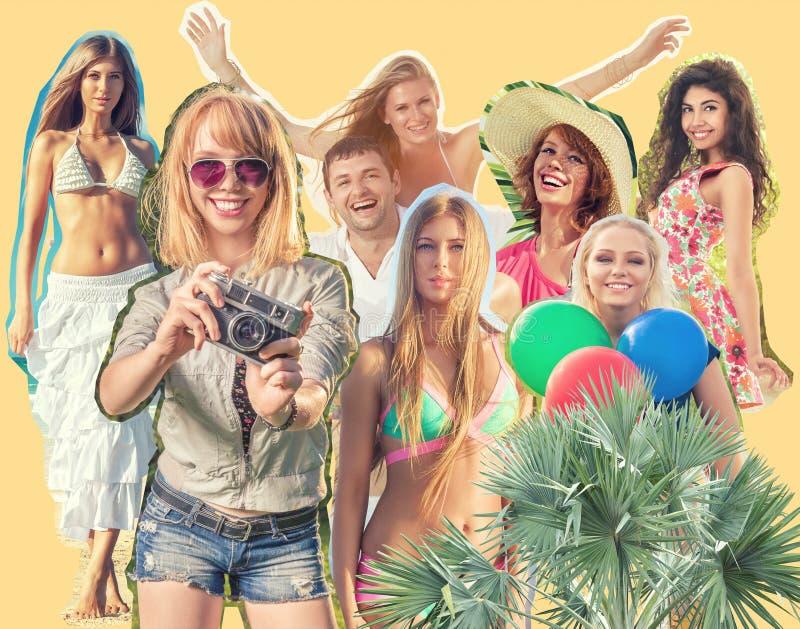 Коллаж счастливых людей стоковое изображение rf