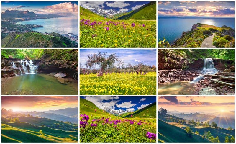 Коллаж с 9 красочными ландшафтами лета стоковые фотографии rf