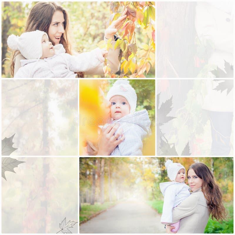 Коллаж с несколькими фото семьи, матери с младенцем стоковая фотография rf