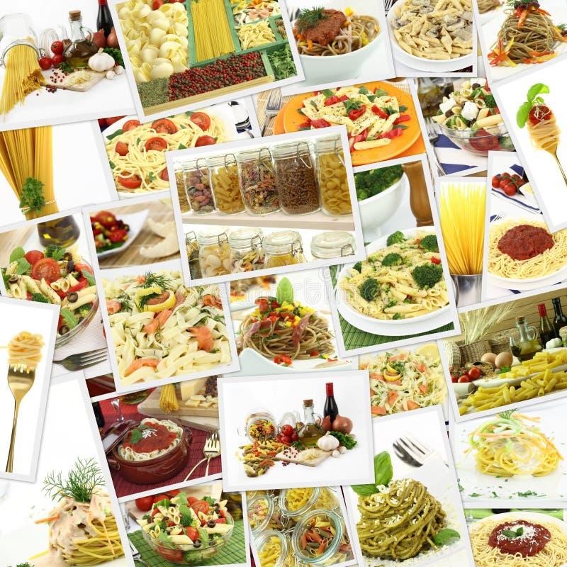Коллаж с различными макаронными изделиями стоковые изображения rf