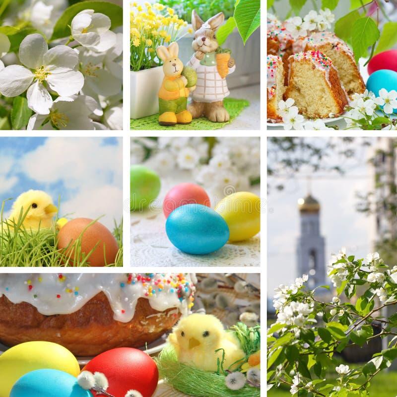 Коллаж с тортом пасхи и пасхальными яйцами стоковые фотографии rf