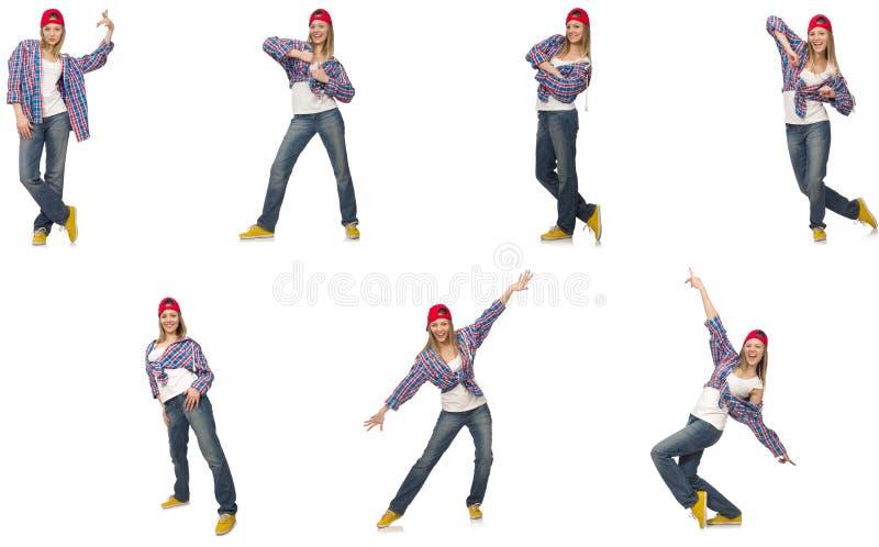 Коллаж танцев женщины изолированный на белизне стоковые фото