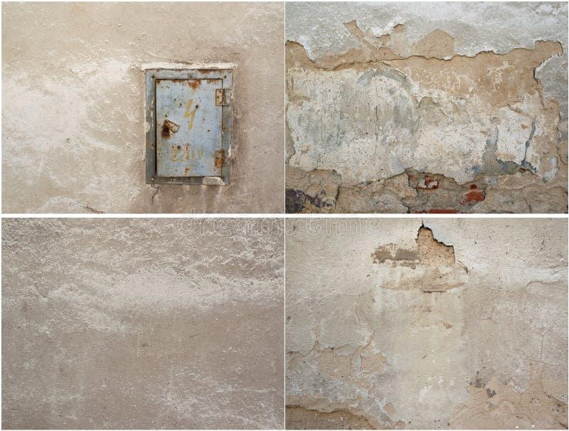 Коллаж текстуры 4 старой двери гипсолита и металла стоковое изображение rf