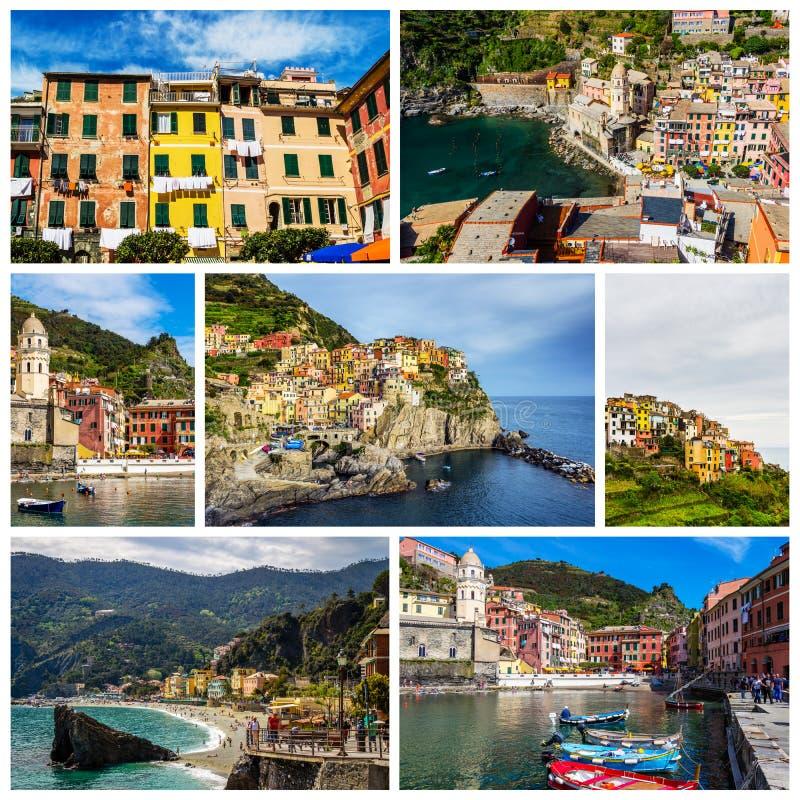 Коллаж фото Cinque Terre в Италии (Vernazza, Manarola, понедельнике стоковые изображения rf