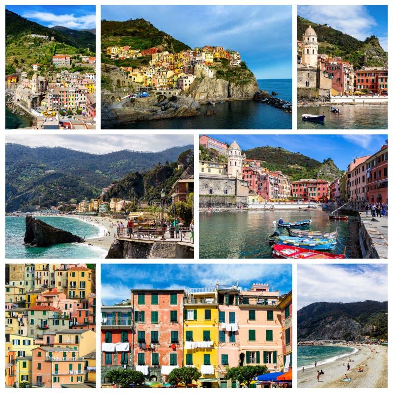 Коллаж фото Cinque Terre в Италии (Vernazza, Manarola, понедельнике стоковое изображение rf