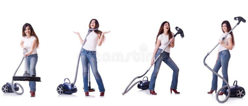 Коллаж чистки женщины с пылесосом стоковое фото rf