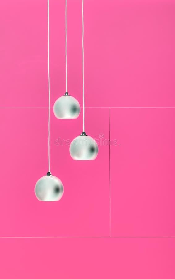 Коллаж Pimk отрицательный 3 потолочных освещений стоковое фото