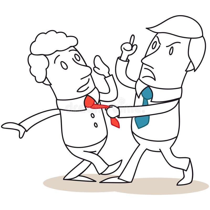 Коллега агрессивного бизнесмена атакуя бесплатная иллюстрация