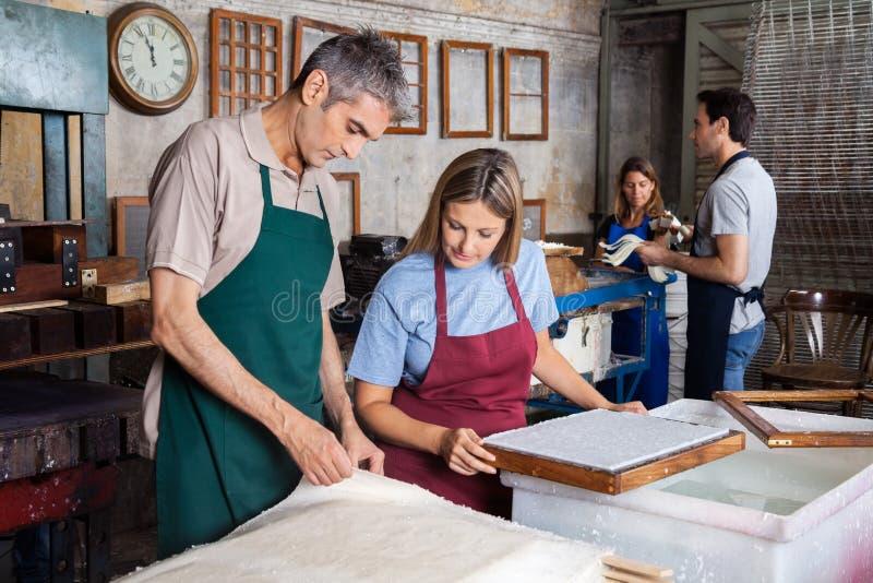 Коллеги проверяя бумаги в фабрике стоковые изображения